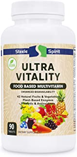 Vegan Whole Food Multivitamin for Men and Women - 42 Raw Fruits and Vegetables - Natural Vitamins, Minerals, Organic Extra...