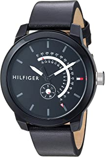 Tommy Hilfiger Mens Denim Quartz Watch with Leather Calfskin Strap, Black, 18.8 (Model