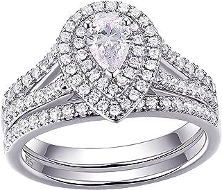 Newshe خواتم زفاف للنساء خاتم الخطوبة 925 الفضة الاسترليني 1.3 قيراط الكمثرى الأبيض تشيكوسلوفاكيا حجم 5-10