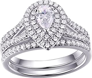 Newshe Wedding Rings for Women Engagement Ring Set 925 Sterling Silver 1.3ct Pear White Cz Size 5-10