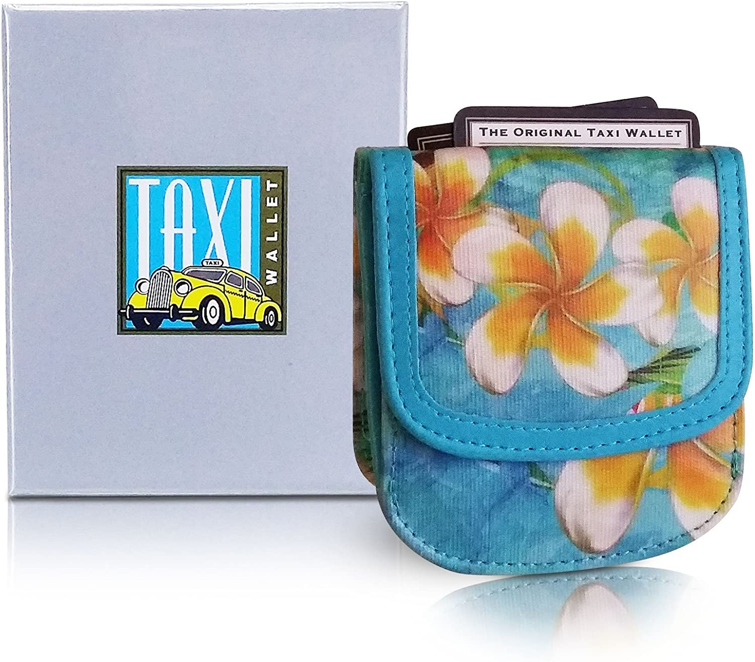 Taxi Wallet – Vegan Material, Plumeria – A Simple, Compact, Front Pocket, Folding Wallet, that holds Cards, Coins, Bills, ID – for Men & Women