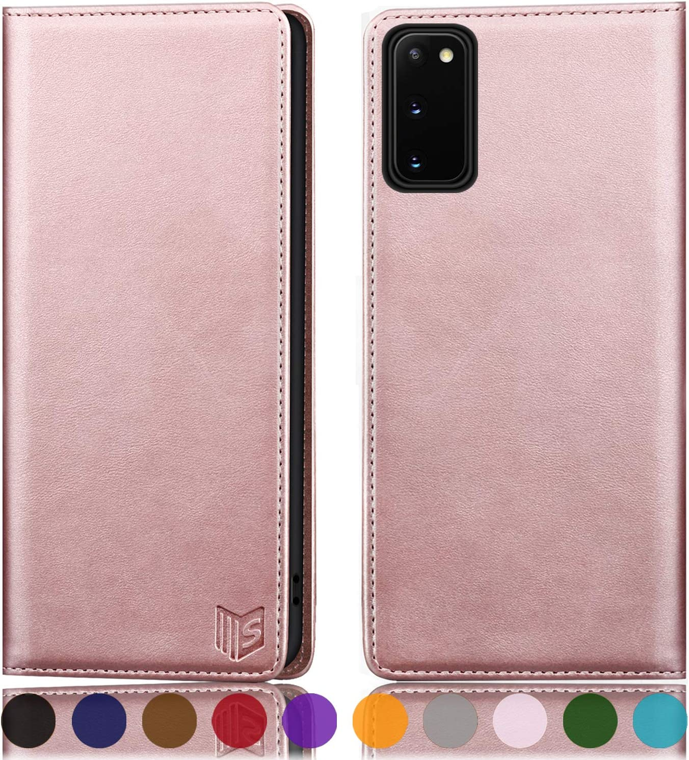 SUANPOT for Samsung Galaxy S20 FE Leather Wallet case with RFID Blocking Credit Card Holder, Flip Folio Book Magnetic PU 5G Cell Phone Cover for S20FE Leather case Wallet for Men Women 6.5 Rose Gold