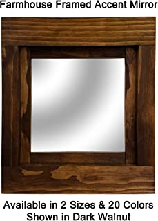 Farmhouse Accent Framed Mirror Available in 2 Sizes and 20 Colors: Shown in Dark Walnut - On the Wall Mirror - Decor Accent - Wall Mirror Decorative - Square Wall Mount Mirror