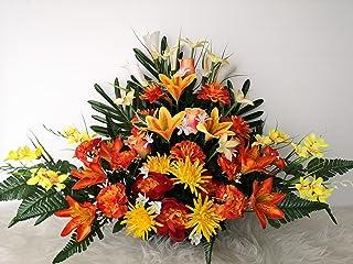 Composition de Fleurs Artificielles, Lesté Ciment pour une Bonne Tenue à L' extérieur. Réalisé par nos Soins, Les Fleurs S...