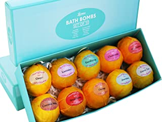 Bath Bombs Gift Set – 10 Unique Scents – Great Gift idea for Women, Mom, Girls, Teens, Graduation, Valentines Day, and Birthdays – Spa Aromatherapy - Relaxation in a Box