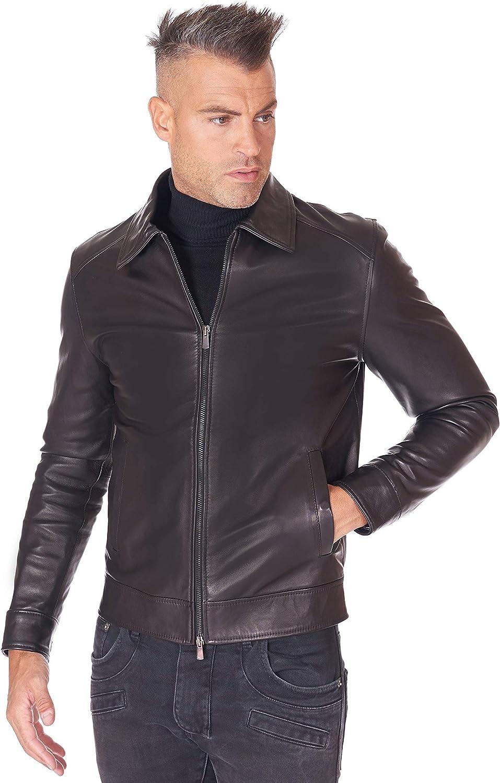 Black nappa lamb leather biker jacket shirt collar