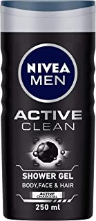 NIVEA Men Body Wash, Active Clean with Active Charcoal, Shower Gel for Body, Face & Hair, 250 ml