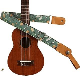 "MUSIC FIRST Original Design Vintage ""Acorn"" Soft Cotton & Genuine Leather Ukulele Strap Ukulele Shoulder Strap With a MUSIC FIRST Genuine Leather Strap Locker"