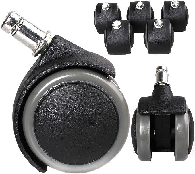 1005 opinioni per HIMRY KXD3200-5 rotelle per sedia da ufficio, 11 mm, per pavimenti duri, grigio,