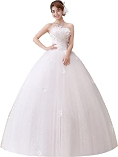 dadc4b8d49208 Clover Bridal 2017 Strapless Applique Beaded Pleats Ball Gown Wedding Dress  Ivory Pure White