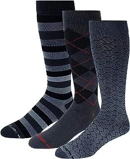 3 Pairs Pack Men Dr. Shams Moderate(15-20mmHg) Travelers, Athletes Compression Knee High Socks
