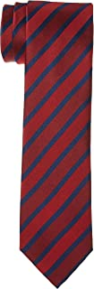 OCTAVE Men's Classic Large Striped Woven Polyester Formal Business Necktie, M.Red