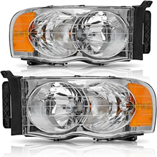 Headlight Assembly for 2002-2005 Dodge Ram 1500/2003-2005 Dodge Ram 2500/3500 Chrome Housing Amber Reflector