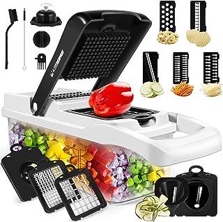 خردکن سبزیجات ، خردکن پیازچه ، برش دهنده سبزیجات اسپیرالایزر ، دستگاه برش ماندولین چند منظوره 15 در 1 با ظرف ، دستگاه برش سبزیجات مخصوص سبزیجات