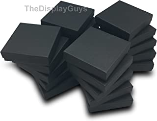 The Display Guys Pack of 25 Cotton Filled Cardboard Paper Black Jewelry Box Gift Case (3 1/2x3 1/2x1 inches #33)