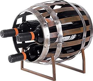 Vintiquewise 3 Wine Bottle Holder Vintage Decorative Metal Barrel Shaped Tabletop Countertop, Brown