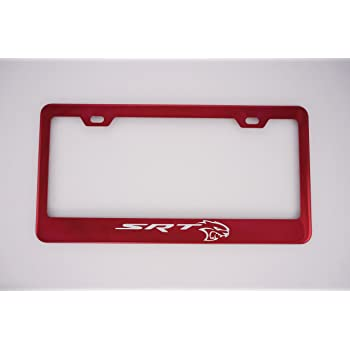 Powder Coasted Color Hellcat Stainless Steel Red License Plate Frame fit SRT