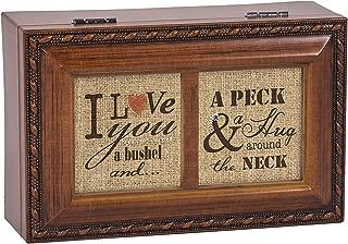 I Love You A Bushel & A Peck Wood Finish Jewelry Music Box Plays Tune You Light Up My Life