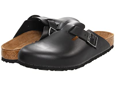 Birkenstock Boston Soft Footbed (Unisex) (Black Amalfi Leather) Clog Shoes