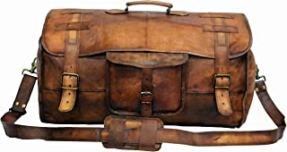 Vintage Leather Bags Luggage Travel Duffel holdall Travel sports Overnight Weekend Leather Bag for gym Sports Cabin (28 Inch)