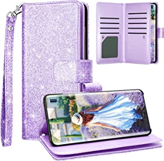Fingic Samsung S20 Plus Case, Galaxy S20 Plus Wallet Case, Glitter Sparkle Cover 9 Card Holder PU Leather with Kickstand Wrist Strap Protective Case Women for Samsung Galaxy S20 Plus 6.7 inch, Purple