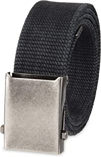 Columbia Men's & Boys' Military Web Belt - Adjustable One Size Cotton Strap and Metal Plaque Buckle