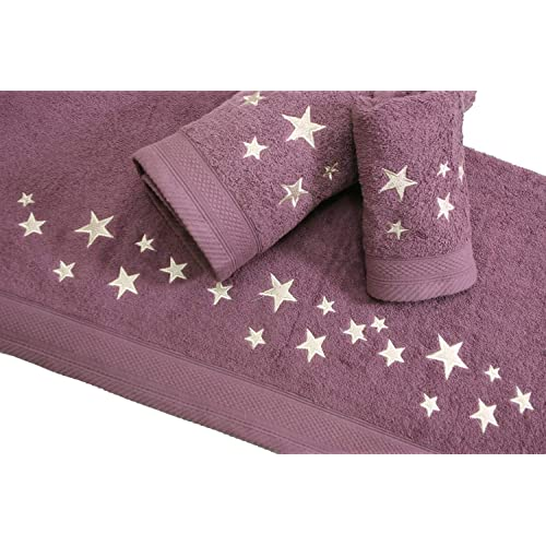 Juego de Toallas Bordadas Cuadros 3 piezas 550gr BIG STARS 3P. Nº14 (Morado)