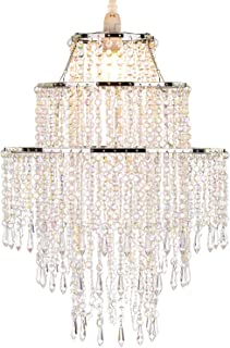 Waneway Large 3 Tiers Beads Pendant Shade, Ceiling Chandelier Lampshade with Acrylic Jewel Droplets, Beaded Lampshade with Chrome Frame and Sparkling Beads, Diameter 12.6 inches, Clear