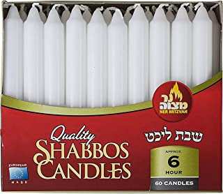 Ner Mitzvah Classic White Taper Candles – 7 Inch Candles - 60 Bulk Pack - for Shabbat Candles, Dinner Tables, Restaurants, Ceremonies and Emergency - 6 Hour Burn Time