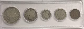 5 D P Vintage Coins Barber half, dime, liberty Nickel, indian Penny Good
