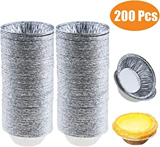 Jyongmer 200 Pieces 2.76 Inch Round Pie Tart Small Tin Foil Pans Disposable Aluminum Mini Pie Pans for Baking, Cooking Supplies