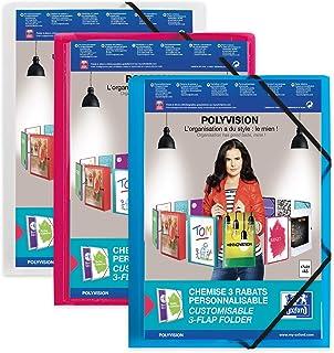 OXFORD Chemise 3 Rabats Polyvision 17 x 22 cm avec Elastique Couverture Polypro Translucide Coloris Assortis