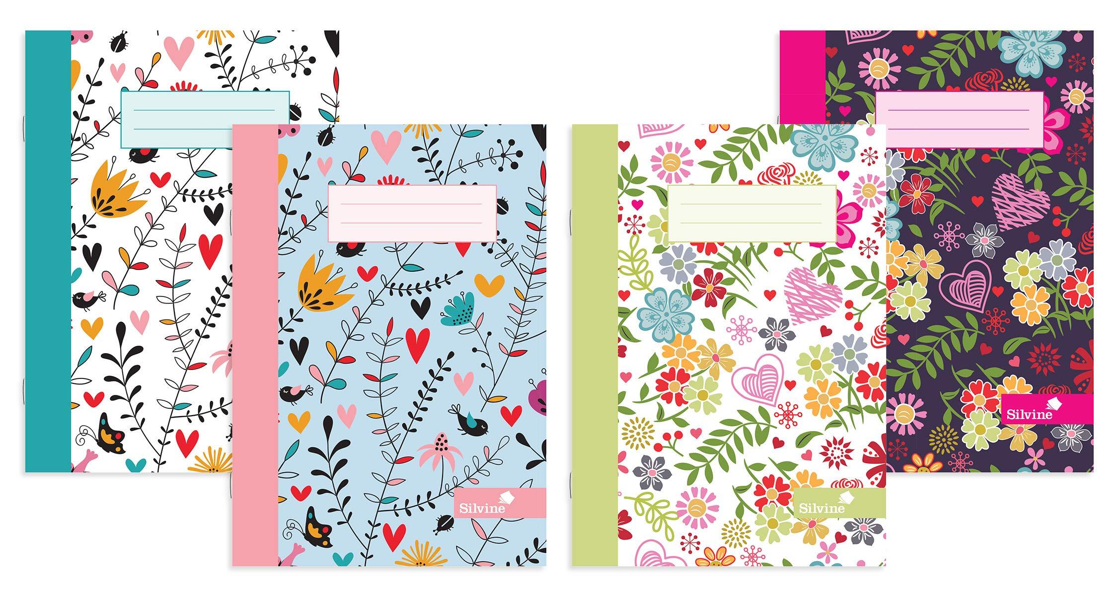 Silvine - Cuaderno (A5, 4 unidades), diseño de Marlene West 80 páginas, forradas con margen. Ref NBA5MW - Pack de 12: Amazon.es: Oficina y papelería