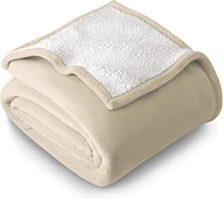 Bare Home Sherpa Fleece Blanket - Full/Queen - Fluffy & Soft Plush Bed Blanket - Hypoallergenic - Reversible - Lightweight (Full/Queen, Oyster)