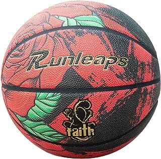Runleaps Indoor Outdoor Basketball, Colorful Rose Basketball Composite Leather Basketball for Men Women Teenagers (deflate...