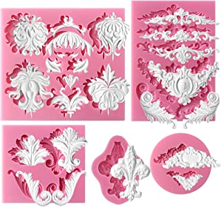 Funshowcase Baroque Style Curlicues Scroll Lace Fondant Silicone Mold for Sugarcraft, Cake Border Decoration, Cupcake Topper, Jewelry, Polymer Clay, Candle Accent, Crafting Projects, 5 in Set