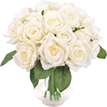 Aonewoe Artificial Flowers 2 Bouquets 18 Rose Head Rose Fake Flowers Bridal Bouquets for Wedding Decoration(White, No Vase)