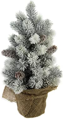 """Northlight 16"""" Medium Flocked Green Pine Artificial Table Top Christmas Tree with Burlap Base - Unlit"""