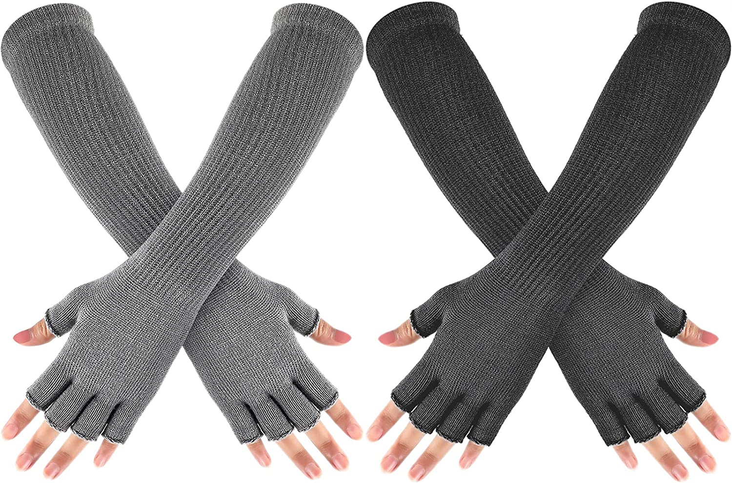 2 Pairs Winter Fingerless Mitten Long thermal Knitted Mittens Stretchy Knit Colored Mittens for Men Women, 11 Inch