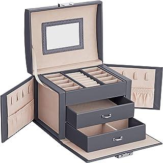 SONGMICS Boîte à Bijoux, Mallette à Bijoux, Coffret à Bijoux de Voyage, Organisateur de Bijoux Portable, avec 2 tiroirs, M...