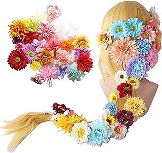 ラプンツェル 髪長姫 耐熱 コスプレ ウィッグ wig かつら 造花付き