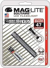 Mag-Lite LED Solitaire tot 37 lumen, 8 cm mini-zaklamp, incl. 1 micro-batterij en sleutelhangerlus, titanium-grijs, SJ3A096