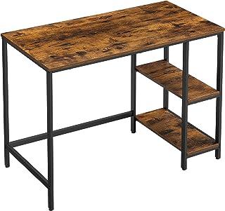 VASAGLE Bureau, Table Informatique, Table d'Étude, avec Étagère à 2 Niveaux à Gauche ou à Droite, pour Bureau, Salon, Cadr...