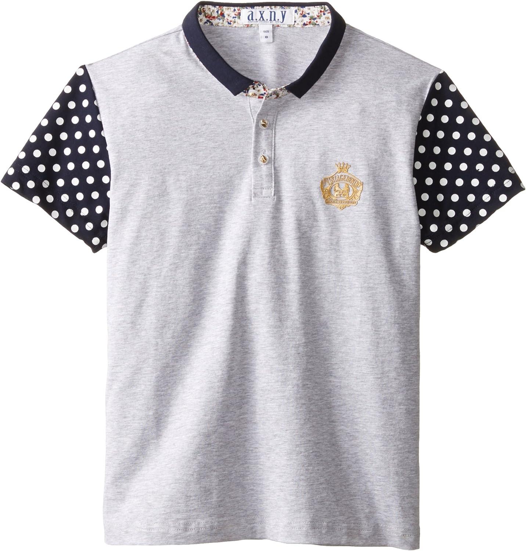 AXNY a.x.n.y Boys' Short Sleeve Polo Shirt Large-Polka