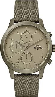 Lacoste Khaki IP Quartz Watch with Leather Strap, 20 (Model: 2010999)