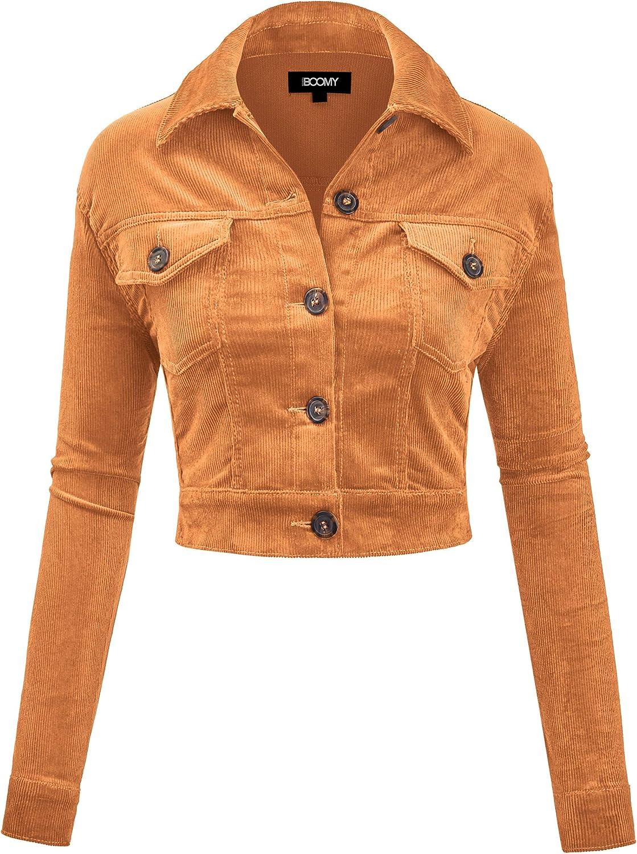 FASHION BOOMY Women's Classic Corduroy Special sale item - Jacket Crop Super intense SALE Sleeve Long