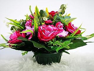 roselynexpress Composition de Fleurs Artificielles, Lesté Ciment pour Une Très Bonne Tenue à L' extérieur, Réalisé par Nos...