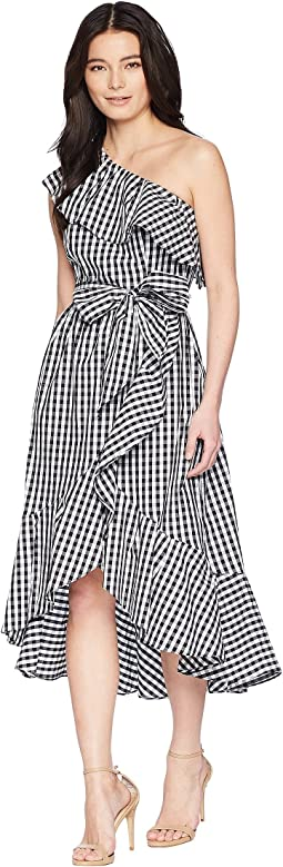 Petite Gingham One Shoulder High-Low
