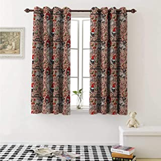 shenglv Pug Blackout Draperies for Bedroom Merry Christmas Dogs Celebrating The Holiday Comedy Image Antlers Hats Candy Cones Curtains Kitchen Valance W72 x L63 Inch Rose Red Green