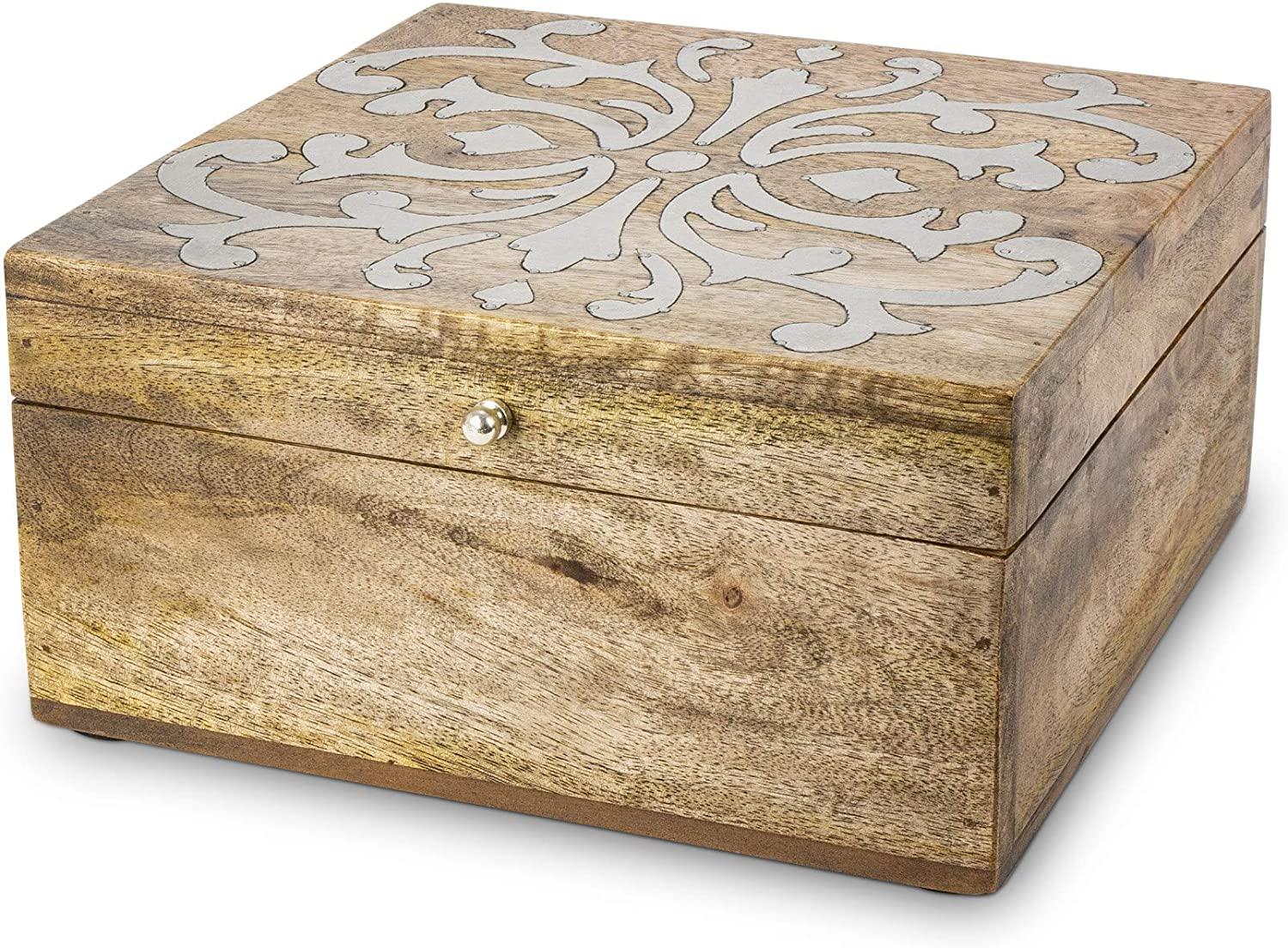 New life GG Wood Inlay Hinged Lidded Box 10InW Decor x Home 5InH 10InL Recommendation